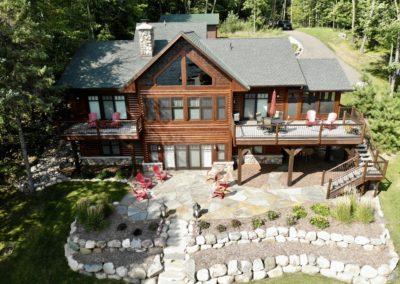 Lakeside flagstone patio and retaining walls